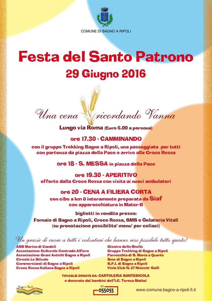 Festa del Santo Patrono a Bagno a Ripoli. Una cena ricordando Vanna ...